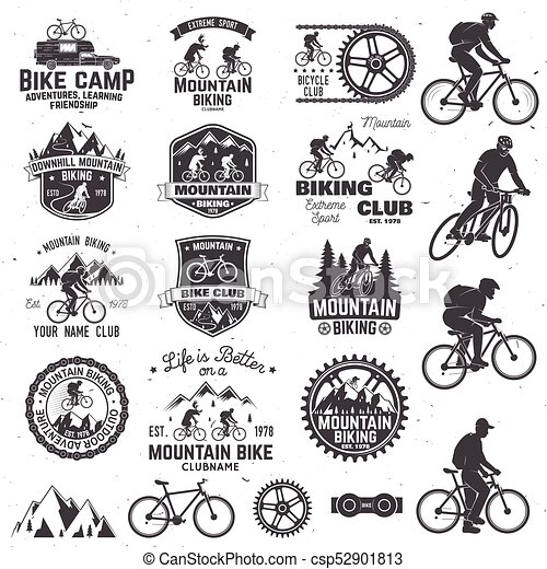 Mountain Biking Collection Vector Illustration Set Of Mountain
