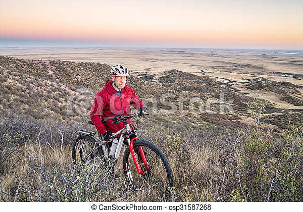 mountain biking in Colorado foothills - csp31587268