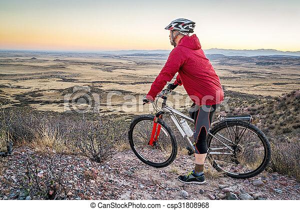 mountain biking in Colorado foothills - csp31808968