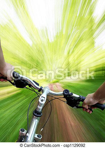 Mountain biking in the forest - csp1129092
