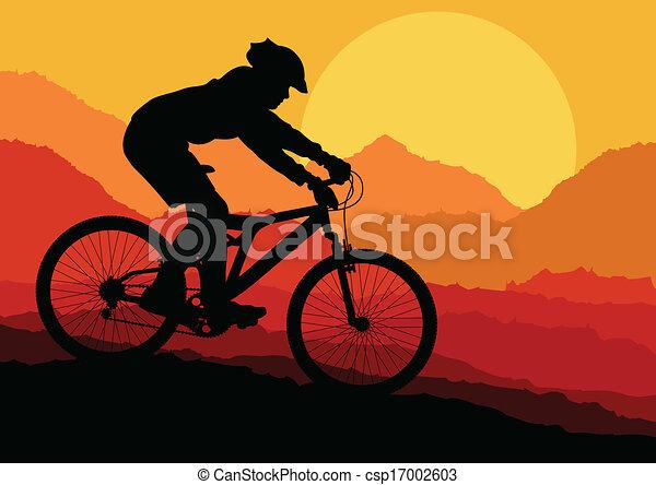 Mountain biking vector background for poster - csp17002603