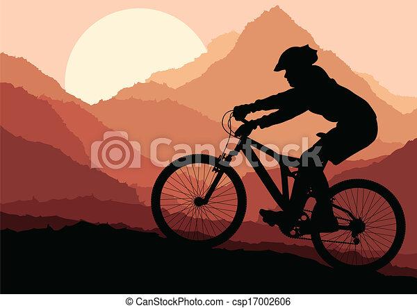 Mountain biking vector background for poster - csp17002606