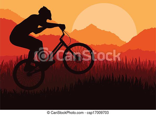 Mountain biking vector background for poster - csp17009703