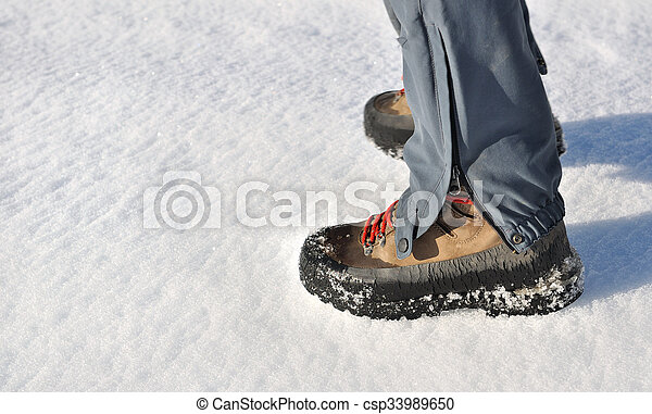 mountain boots in snow - csp33989650