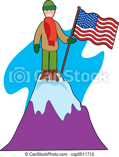 young mountain climber with an american flag clip art search rh canstockphoto com mountain climber exercise clipart mountain climber clip art free