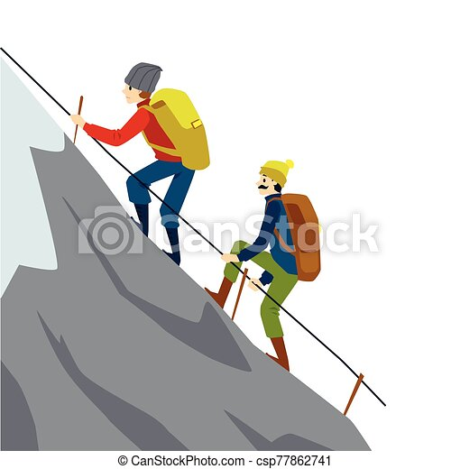 Mountain Climber Couple Climbing High Rock Rope Holding Rope Rail Flat Isolated Vector Illustration Of Cartoon Man And