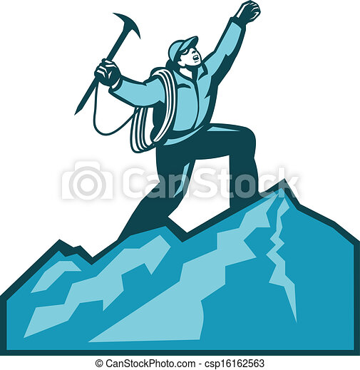 mountain climber summit retro illustration of mountain climber rh canstockphoto com Clip Art Harbor Executive Branch Clip Art