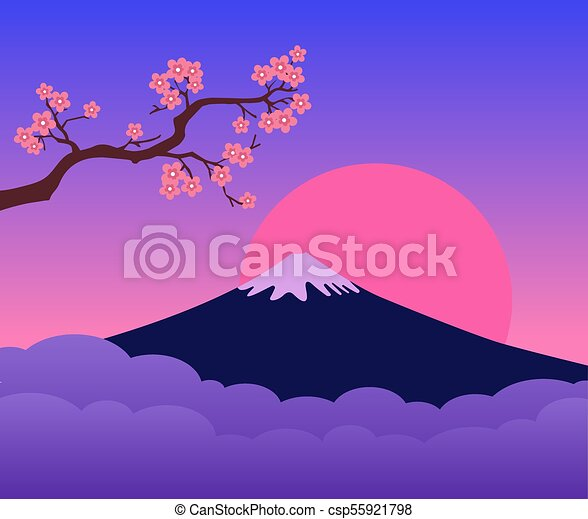 Mountain Fuji Japan Sunset and Cherry Blossoms Branch. Colorful landscape. Symbol of Japan. - csp55921798