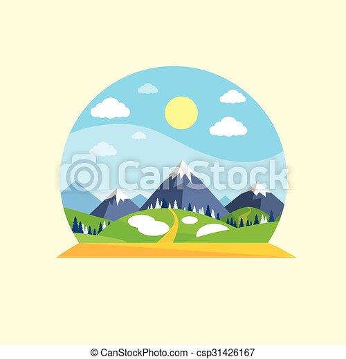 mountain green grass sun landscape forest park blue sky clip art rh canstockphoto com Grass Clip Art Grass Silhouette Vector Free