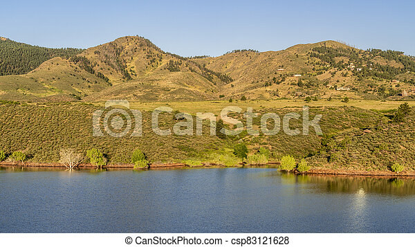 mountain lake at Colorado foothills - csp83121628