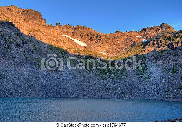 Mountain lake at sunrise - csp1794677