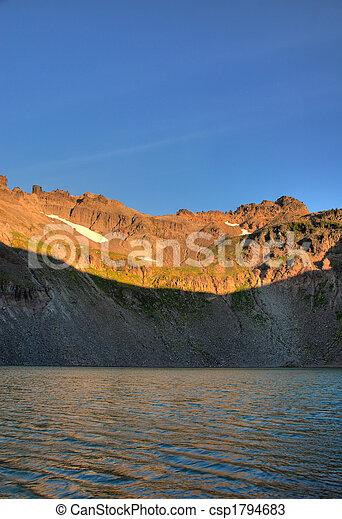 Mountain lake at sunrise - csp1794683