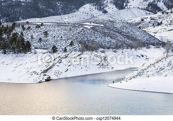 mountain lake at winter dusk - csp12074944