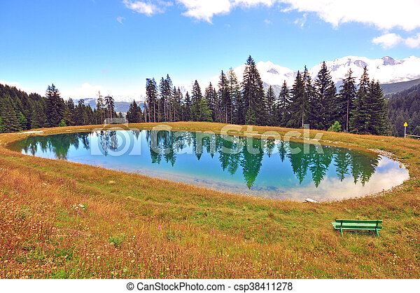Mountain lake in the forest - csp38411278