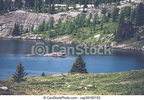 Mountain lake with pine trees - csp39160153