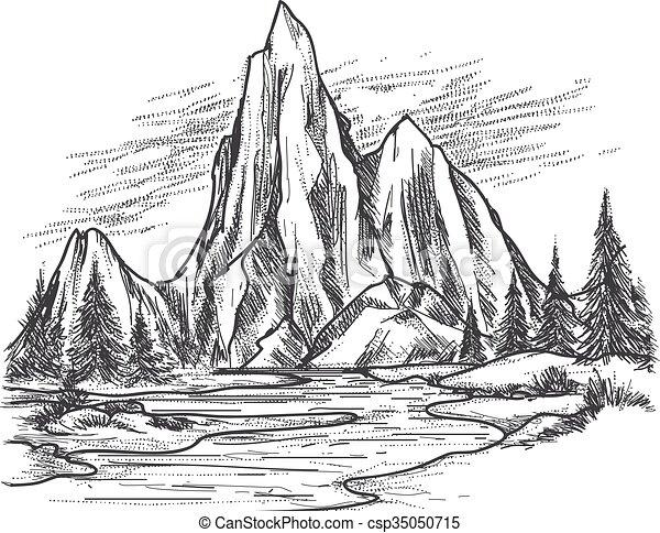 Mountain Lake With Pine Trees Mountain Lake Landscape Hand Drawn