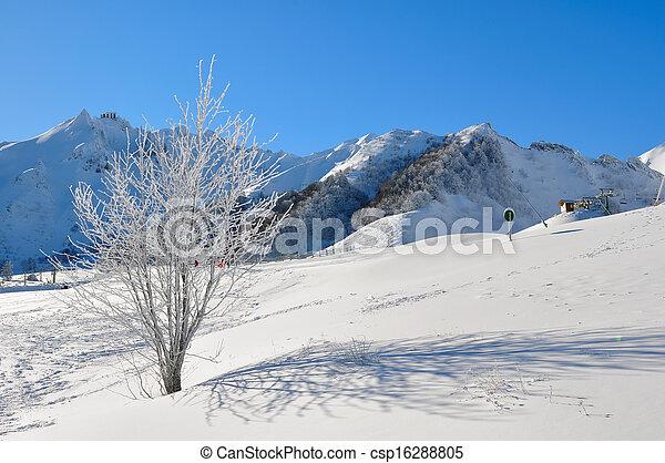 mountain landscape in winter in a ski resort - csp16288805