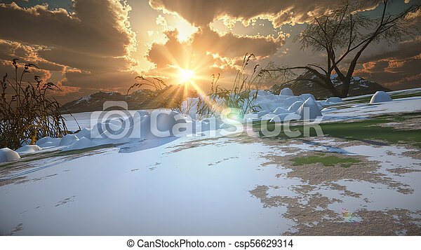 mountain landscape in winter - csp56629314
