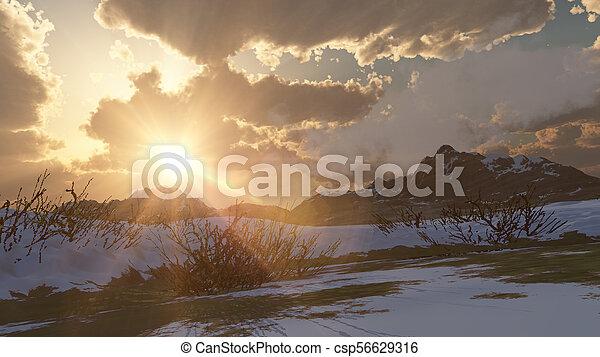 mountain landscape in winter - csp56629316