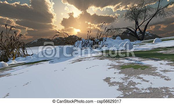 mountain landscape in winter - csp56629317