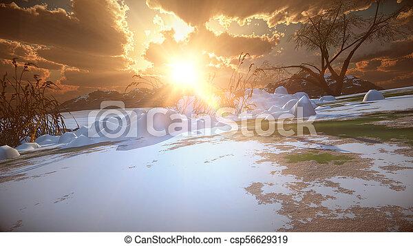 mountain landscape in winter - csp56629319