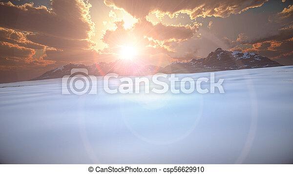mountain landscape in winter - csp56629910