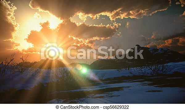 mountain landscape in winter - csp56629322