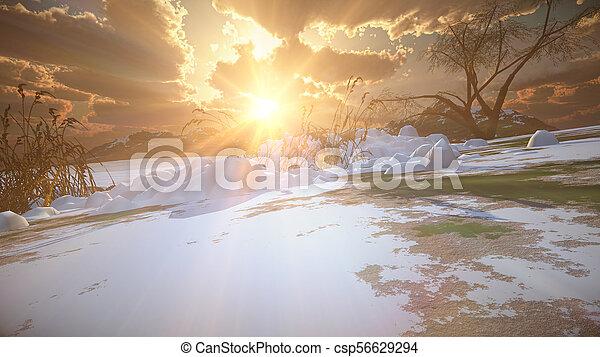 mountain landscape in winter - csp56629294