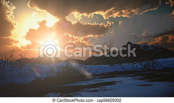mountain landscape in winter - csp56629302