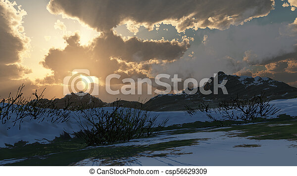mountain landscape in winter - csp56629309