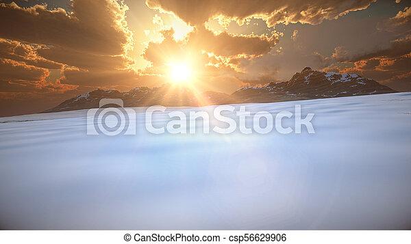 mountain landscape in winter - csp56629906