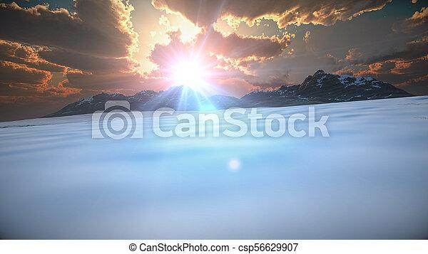 mountain landscape in winter - csp56629907