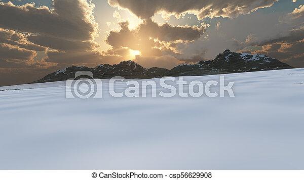 mountain landscape in winter - csp56629908