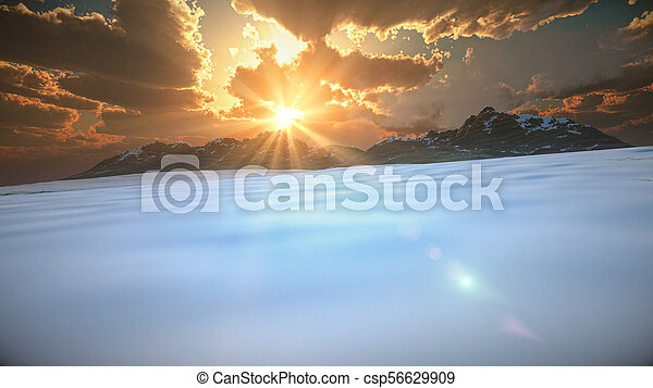 mountain landscape in winter - csp56629909