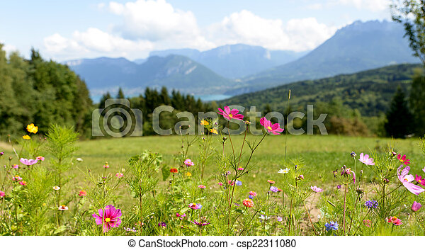 mountain landscape on the edges of Lake Annecy - csp22311080