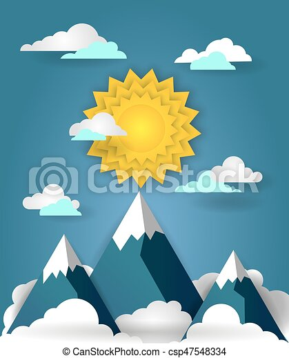 Mountain landscape paper art banner - csp47548334