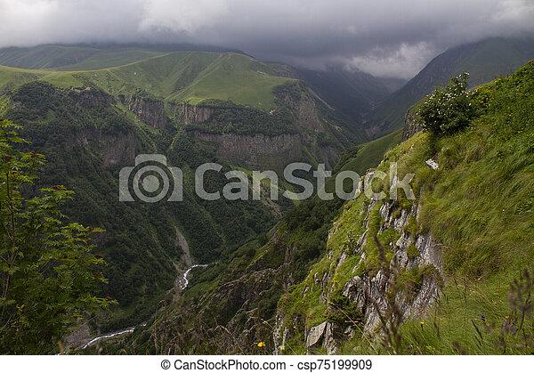 Mountain landscape view, Caucasus, Georgia - csp75199909