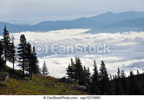 Mountain landscape with clouds - csp15374950