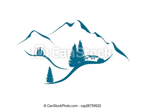 Mountain Landscape With Cottage An Firs Vector