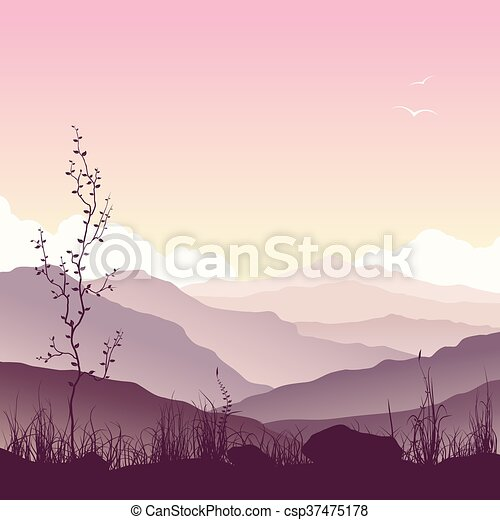 Mountain landscape with grass and tree - csp37475178