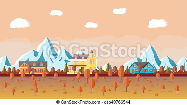 Mountain landscape with house. - csp40766544