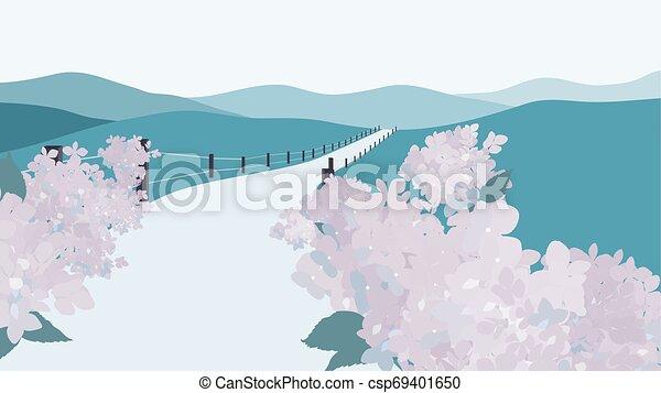 Mountain landscape with hydrangea garden along the road - csp69401650