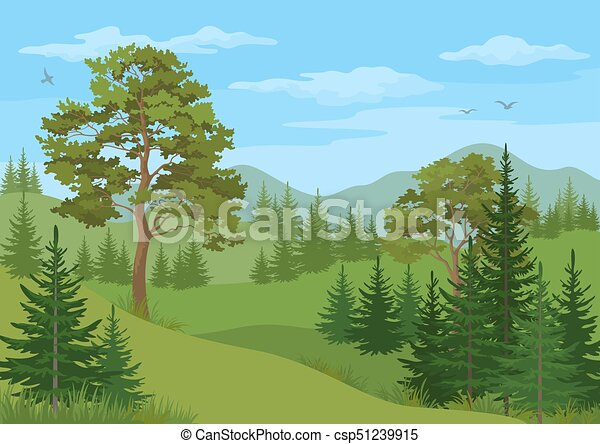 Mountain Landscape with Trees - csp51239915