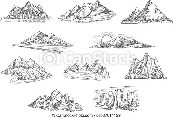 Mountain landscapes sketches for nature design - csp37614129
