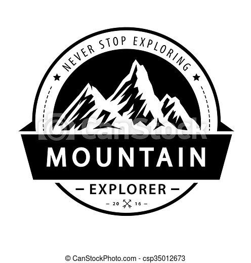 Mountain logo emblem. Adventure retro vector illustration. - csp35012673