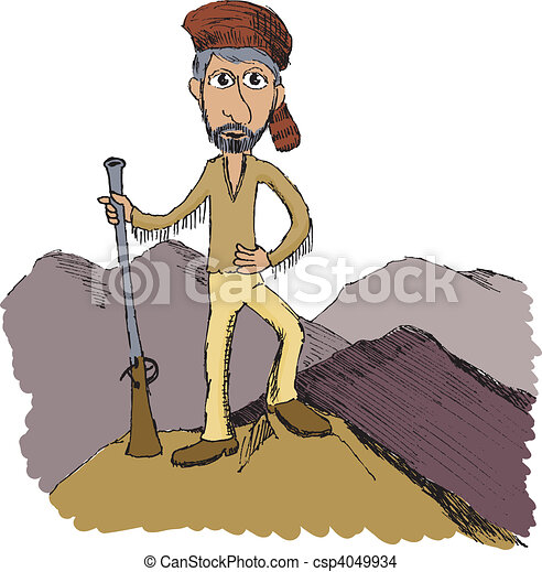 Pen and ink drawing of a mountain man eps vector - Search ...
