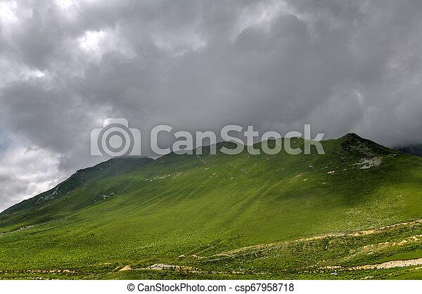 Mountain Panorama - Kazbegi, Georgia - csp67958718