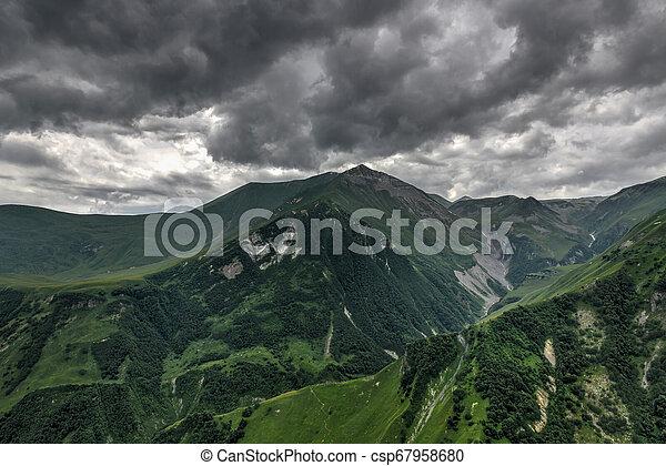 Mountain Panorama - Kazbegi, Georgia - csp67958680