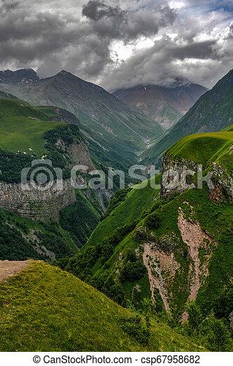 Mountain Panorama - Kazbegi, Georgia - csp67958682