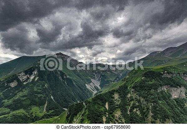 Mountain Panorama - Kazbegi, Georgia - csp67958690